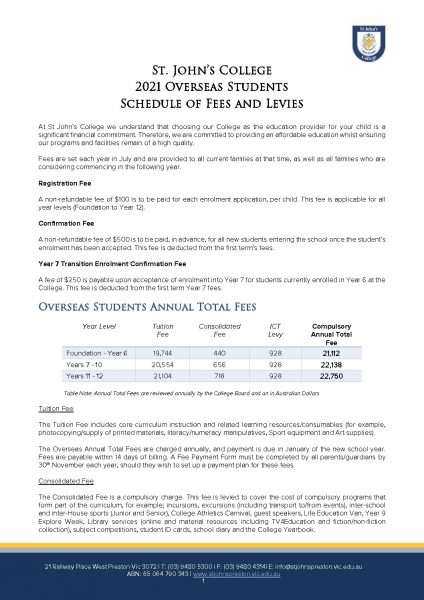 Overseas Fee Schedule 2021