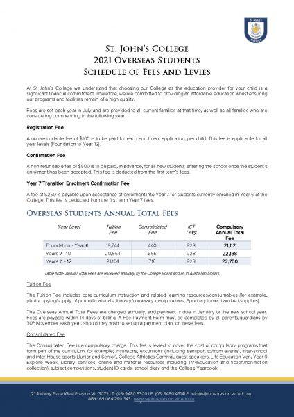 Overseas Fee Schedule 2021